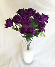12 DARK PURPLE ~ OPEN LONG STEM ROSES Silk Wedding Flowers Bouquets Centerpieces