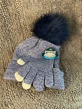 New Pugs Womens Gray Beanie Hat and Glove Set Blue