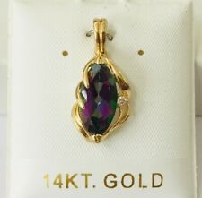 NEW 14K Yellow / White Gold Rainbow Mystic Fire Topaz Gemstone & Diamond Pendant