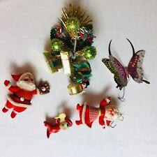 Vintage Christmas Lot Floral Pick Flocked Santa Mrs Claus Pipe Cleaner Snowman