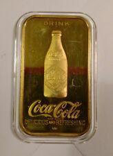 999 1 TO SILVER INGOT BAR COCA COLA LOUISVILLE, KY 75TH ANN COKE 24KT GOLD RARE