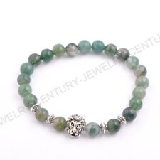 8MM Natural Gemstone Round Beads Lion Head Stretchy Bracelets Assorted Stones