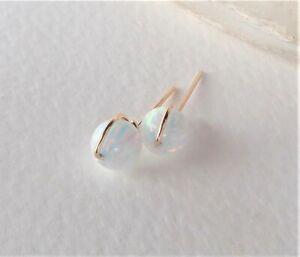 Stud Earrings Wrapped White Fire Opal