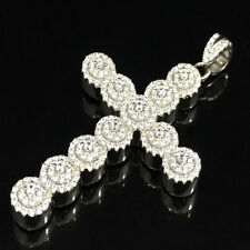 """Finish Flower Cross Charm Pendant 2.5"""" Real Solid Sterling Silver 925 White Gold"""