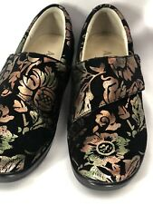 Alegria 36 Cross Strap Floral Comfort Shoes Black