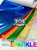 """Vinyl Small Sparkle Holographic Fabric 54"""" Wide Sold by the Yard"""