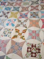 "Vintage Handmade Patchwork Multicolor  Quilt 80""x 71"""""