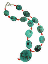 Large Oval Turquoise Stone Beads with Red Glass Beads w Sterling Silver Necklace