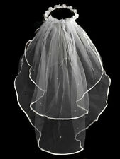 Unotrim Girls 1st Communion Wedding White Veil 2 Layer Tulle Headpiece Pearl 25""