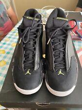 Air Jordan Retro 14 Indiglo Black / Vivid Green Size 13 487471-005 USED