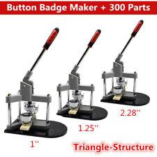 "Button Maker Badge Punch Press Machine 1"" 1.25"" 2.28"" Pin Die Mould & 300 Parts"