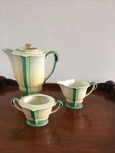 Art Deco Coffee Pot, Milk Jug & Sugar By Carlton Ware