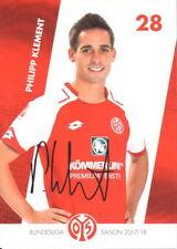 Autogrammkarte 17/18 Philipp Klement 1.FSV Mainz 2017/2018 faksimiliert Club FCK