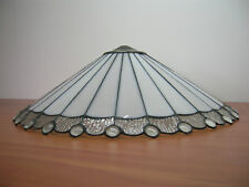 "New 21"" White & Clear Leadlight Stained Glass Ceiling Pendant Lamp Shade"