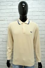 FRED PERRY Uomo Maglia Polo Manica Lunga Maglietta Uomo Taglia 44/112 Shirt Man