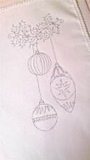 printed Tray Cloth to embroider Christmas  Bauble 100% Cotton with lace edge
