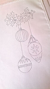 printed Tray Cloth to embroider Christmas Bauble Cotton with lace edge CSOO67