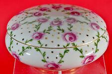 LIMOGES France antike Porzellandose floral Dekor Rosen Dose Deckeldose Porzellan