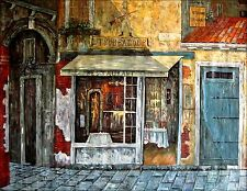 Stretched Hand Painted Oil Painting, European Storefront Series XII 36x48in
