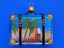HAWAII VACATION SUITCASE LUGGAGE TRUNK GLASS CHRISTMAS ORNAMENT SURFBOARD