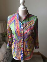 LAUREN RALPH LAUREN Bright Multicoloured Shirt Blouse 3/4 Sleeve Size Small 10