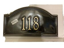 "# 118 Providence Arch House Number Wall Plaque Sign Black Gold 17"" x 9.5"""