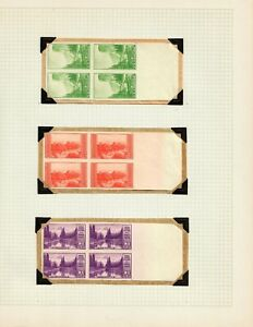 US #756-765 1-10c National Parks Imperf Block of 4 on Elbe Album Pages