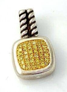 Yellow Diamond Cushion Shape Pendant in Sterling Silver Lot #68