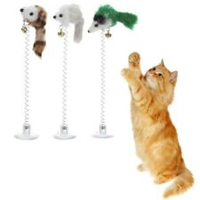 New Cat Toy Elastic Spring Mouse Hanging Toys False Feather Pussy Pet Cats Play