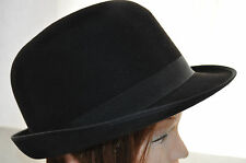 German 1950'S Men's Black Bowler Derby MAYSER Vintage Fedora Hat Trilby perfect