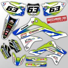 2006 2007 2008 KXF 250 GRAPHICS KIT KAWASAKI KX250F THROWBACK GREEN / BLUE DECAL