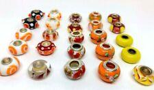 25 Pcs Orange, Red, Yellow Big Hole Glass Beads Fit Pandor European Bracelet