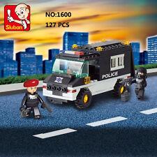 Sluban B1600 Police Black Patrol Car Figure Building Block Toy blocks toys