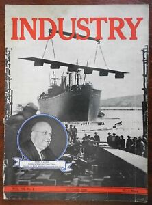 USA business Industry 1942 WWII era illustrated magazine ship building war bonds