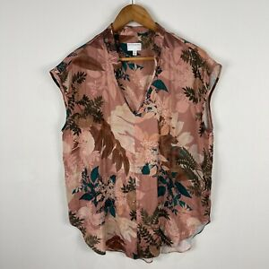 Witchery Womens Top 14 Multicoloured Floral Short Sleeve V-Neck