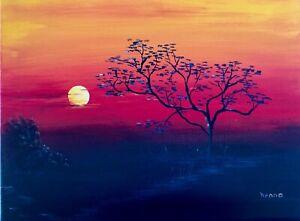 original acrylic painting colourful sunset countryside canvas , henna's art
