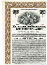 Mannheim and Palatinate Electric Co., 1926, 500$ Gold-Bond