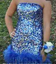 Royal Blue Prom Party  Strapless Sequin Short Dress with Ostrich Feathers Size 6