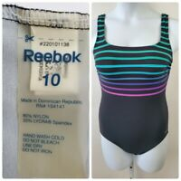 Reebok Size 10 Black Striped One Piece Swimsuit