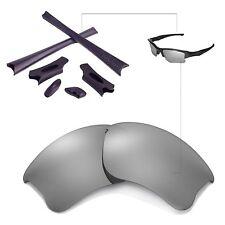 New WL Polarized Titanium Lenses And BLack Rubber Kit For Oakley Flak Jacket XLJ