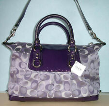 Coach Ashley Signature Satin Satchel Bag Violet/Purple F15443 New