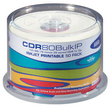 HHB CDR80BULKIP 80 Minute White Inkjet Printable 1-12X Pro 700MB CD *50 PACK