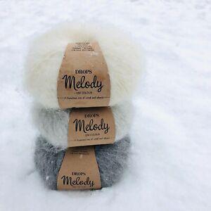 Ombré grey Fluffy Peruvian Superfine ALPACA + MERINO wool yarn gift set 3 x 50g