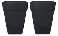 2 x 44 Litre Black Large Plant Pots Square Tall Plastic Planters Outdoor Garden