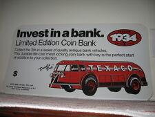 "1934 DoodleBug Texaco Tanker Coin Bank Plastic Advertising Sign NOS 23.5x12.5"""