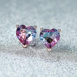 7MM Heart Dazzling Purple Bi-Colored Tourmaline Topaz Rose Gold Stud Earrings