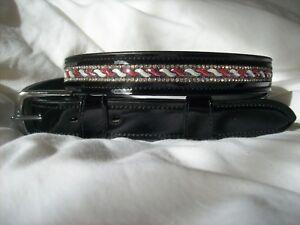 NEW! BLING*Ladies PATENT Leather Belt*Crystals Design*Dressage/Fashion*BLACK