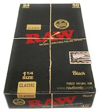 Raw Black Classic 1 1/4 Natural Unrefined Rolling Papers 24 Booklet Packs