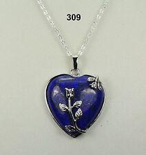 Dark blue lapis lazuli heart pendant necklace, silver-plated details & chain