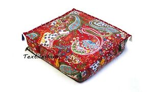 "18"" Indian Home Décor Floor Pillow Red Handmade Square Kantha Cushion Covers AU"